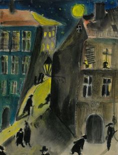 Siri Meyer (Swedish, 1898-1985): Cityscape (The Dream), 1922.   Private Collection. Watercolor and gouache on paper, 23 x 18 cm. © Siri Meyer. This artwork or photograph is posted in accordance with fair use principles.  #IRequireArt @irequireart #art #swedish #sirimeyer  IRequireArt.com