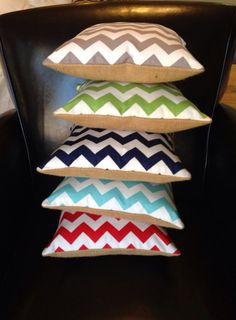 Small Chevron Burlap Pillow  light blue red navy by cococouture, $18.00
