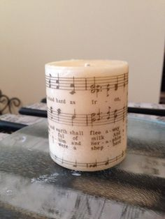 Cream sheet music candle DIY