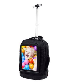 Look what I found on #zulily! Black Personalizable Rolling Backpack #zulilyfinds