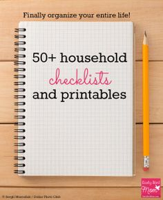 Household Checklists and Printables for 2019 (Mostly Free!) : Organize your life with these household checklists and printables, most of them free! Includes printables for cleaning, budgeting, travel, kids and more. Household Checklist, Household Binder, Household Organization, Life Organization, Printable Organization, Household Notebook, Organizing Life, Household Expenses, Printable Planner