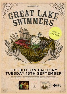 Tues 15 September - Great Lake Swimmers at Button Factory, Dublin Button Factory, Swimmers, Dublin, September, Poster, Billboard