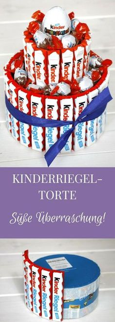 A Kinderriegel cake is a creative gift idea for chocolate lovers. How you can make a children's bar cake, we show you like. Of course, you can stick the candy cake with other sweets. But a Kinderriegeltorte as a gift is actually good at all, right? Creative Birthday Gifts, Diy Birthday, Birthday Presents, Creative Gifts, Birthday Ideas, Birthday Cake, Presents For Kids, Diy Presents, Diy Gifts