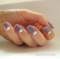 A Half Moon French Manicure with Pearls for that Bride to Be