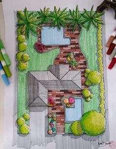Planta Baixa Cobertura Vegetação, Espelho de água, marcadores canson layout #arquiteturapaisagistica #vegetação