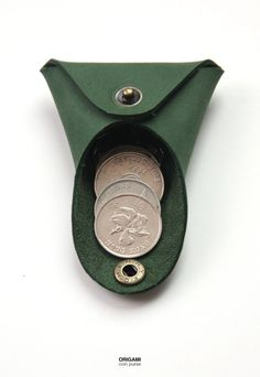 British Racing Green - Origami Coin Keep - KonceptHK / Manchuen Hui - - https://www.etsy.com/listing/197808966/leather-coin-bag-coin-purse-minimalistic?ref=related-4