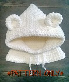 Crochet Polar Bear Hood (Adult size) Pattern Only sold by Inky Fox The Yarn Bandit. Shop more products from Inky Fox The Yarn Bandit on Storenvy, the home of independent small businesses all over the world.*PATTERN ONLY* Cold outside? Wind, rain and snow Crochet Baby Hats, Crochet Beanie, Crochet Scarves, Crochet For Kids, Crochet Clothes, Baby Knitting, Knitted Hats, Knit Crochet, Knitting Scarves