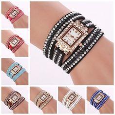 Women's Rectangle Diamond Dial  Diamante  Circuit Band Quartz  Watch (Assorted Color)C&d177 – USD $ 7.99