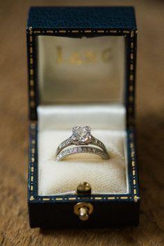 Engagement ring, wedding band, engraved band, princess cut diamond, vintage, blue leather ring box // Jennifer Manzi Photography