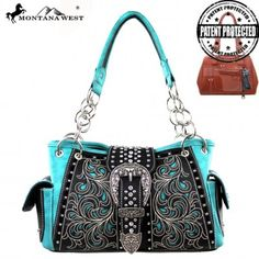 Black and Turquoise Buckle Western Purse