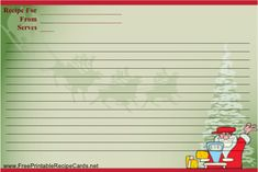 A playful Santa prepares to cook on this Christmas recipe card, which also pictures reindeer and a tree. Free to download and print Recipe Paper, Diy Recipe, Printable Recipe Cards, Free Printable, Scrap Books, Hot Cocoa Mixes, Recipe Binders, Winter Crafts For Kids, Recipe Books