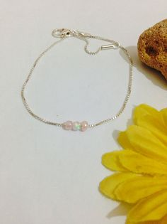 White opal bracelet 925 sterling silver/pink beads,bracelet white opal