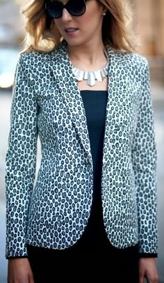 Gorgeous look with snow leopard blazer and shealth dress