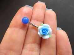 Belly Button Ring Jewelry, Detailed Blue Rose Belly Button Ring Flower Navel…