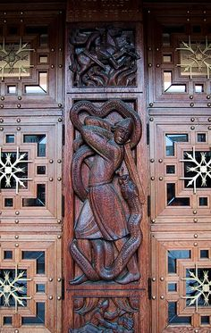 The doors of the Oslo town hall. The Rådhus was completed in 1950, though started in 1931. This is where the Nobel Peace prize is awarded each year.