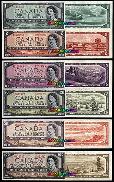 Canada banknotes: 1954 Devil face - Canada paper money catalog and Canadian currency history Canadian Coins, Canadian History, Canadian Dollar, Rare Coins Worth Money, Valuable Coins, Money Template, Old Money, Money Pics, Monopoly Money
