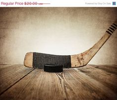 ON SALE Vintage Hockey Stick and Puck on Wood  by shawnstpeter, $14.00