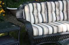 Black Outdoor Wicker sofa matched to the tee with that lovely outdura fabric. #wicker #stripe #furniture #black #tan #sofa Pinned by @Erin Wicker Paradise | www.wickerparadise.com
