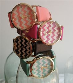 glam chevron striped watches. Super trendy and glamorous arm candy!