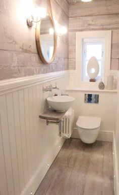 The dream house renovation continues: with the smallest room in the house! Small Toilet Decor, Toilet Room Decor, Small Toilet Room, Guest Toilet, Bathroom Design Small, Bathroom Interior Design, Cloakroom Toilet Downstairs Loo, Wc Decoration, Small Shower Room