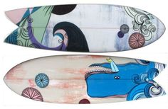 Cool graphics on fish boards.