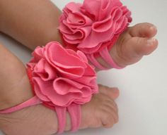 Baby barefoot sandals, so cute!  Oh, can't wait to paint her little toenails!!!
