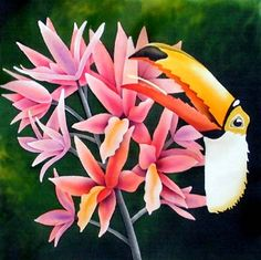 Silk Painting Toucan and Orchids LEONARD THOMPSON