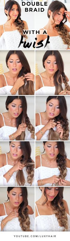 Cute Quick and Easy Double Braid by the beautiful @mimiikonn. We love this braid because it is super fun, and perfect for any occasion! Click to learn how to create this look. <3 #LuxyHairExtensions