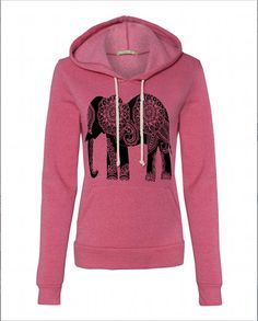Womens Paisley ELEPHANT Hoodie Sweatshirt Hooded Alternative Apparel Gray, Blue, Pink, Black Hand Drawn Hand Printed Original Design by FreeBird Alternative Outfits, Alternative Apparel, Winter T Shirts, Hooded Sweatshirts, Hoodies, Dress To Impress, What To Wear, Cool Outfits, Trending Outfits