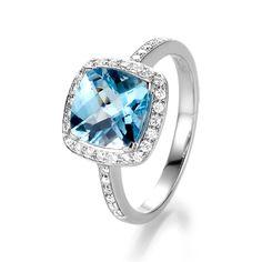 Gold ring Sara Ring with Blue Topaz and Diamond (White Gold Anniversary Rings, Paper Anniversary, Wedding Gallery, Custom Jewelry, Diamond Rings, Topaz, Heart Ring, Sapphire, Jewelry Design