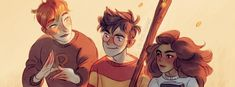 Harry, Hermione and Rony The Golden Trio~ I thought that was Grover Percy and Annabeth