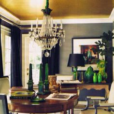 grasscloth walls, gold ceiling - both make the room very inviting