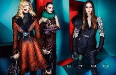 Etro Fall 2012 Ad Campaign  Iselin Steiro, Magda Laguinge, and Laura Love, photographed by Mario Testino