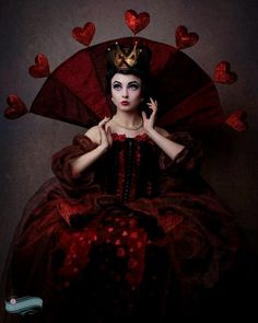 "The red queen costume. ""Off with your head!"" Lovely spin on the Queen of Hearts. Alice in Wonderland #Red #Queen"