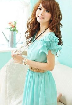 Sweet V-neck Beading Short Puff Sleeve Slip Dress on BuyTrends.com, only price $11.07