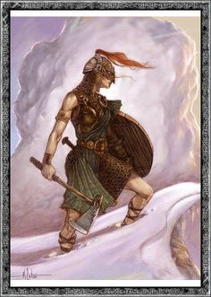 Thrud is the daughter of Thor and Sif. She was promised in marriage to the dwarf Alvis, as a payment for his crafts. Thor, however, did not want to marry his daughter off to a dwarf, and thus prevented the marriage by keeping him talking until. Fantasy Rpg, Medieval Fantasy, Fantasy Artwork, Fantasy Women, Thor, Character Inspiration, Character Art, Character Portraits, Bild Tattoos