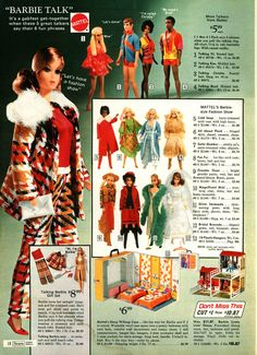 Talking Barbie and Friends, Sleep 'n Keep Case and Surprise House from the Sears Christmas Wish Book Catalog, 1971 Vintage Barbie Kleidung, Vintage Barbie Clothes, Vintage Dolls, Vintage Ads, Vintage Stuff, Vintage Photos, Mattel Barbie, Barbie And Ken, Christmas Catalogs