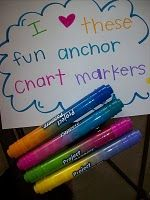 anchor chart double sided markers- Elmers.  The best part is that they can be found at Wal-mart!