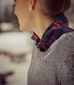 Metallic Sweater & Tartan   Pop of StylePop of Style