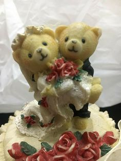 Vintage Figurine Bears Charming First Dance Wedding Couple Cake Topper Party  #Unbranded #Wedding