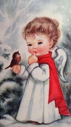 Charlot Byj Little Angel Robin Bird Vintage Christmas Card 1607 Vintage Christmas Images, Old Fashioned Christmas, Christmas Scenes, Christmas Past, Retro Christmas, Vintage Holiday, Christmas Pictures, Christmas Angels, Christmas Greetings