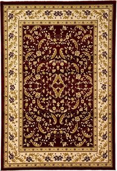 Red Classic Aubusson Area Rug