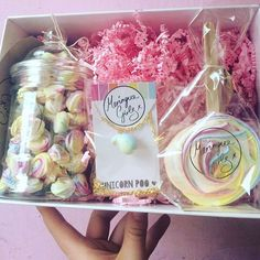 Instagram media meringuegirls - A unicorn gift set. Basically the perfect pressie in the post. A unicorn poo necklace, jar of rainbow roses and a unicorn lollipop. Special price of £15. In the online shop now.