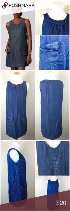 """Fossil Denim Cotton Pocket Tank Shift Dress Cute Fossil tunic shift dress with big pockets Very soft chambray. Size small. Navy underlining. Length 33"""". Bust: 34"""". 100% Lyocell shell. 100% Cotton Lining. In good Preowned condition with some sign of wear. No tears or stains. Fossil Dresses"""
