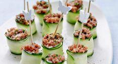 Verrine tomate mozzarella Cucumber, Zucchini, Sushi, Vegetables, Cooking, Ethnic Recipes, Tzatziki, Four, Caviar