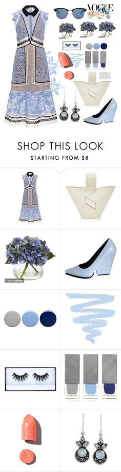 """""""Summer all day ,look"""" by rousou ❤ liked on Polyvore featuring self-portrait, Nearly Natural, CÉLINE, Burberry, Huda Beauty, PUR, NOVICA and Yves Saint Laurent"""
