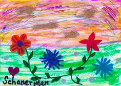 """Flowers At The Shore"" -  Original 5"" x 7"" heARTwork by Susan Schanerman"