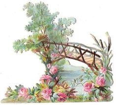 Free freebie printable vintage diecut scrap bridge, flowers roses