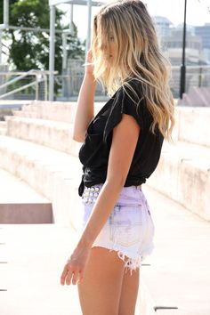 bleached ombre denim shorts