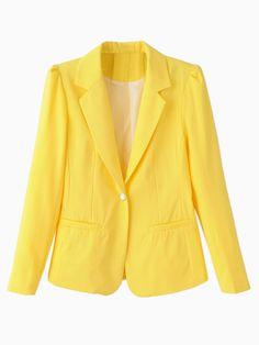 Yellow Lapel Single Button Slim Blazer | Choies